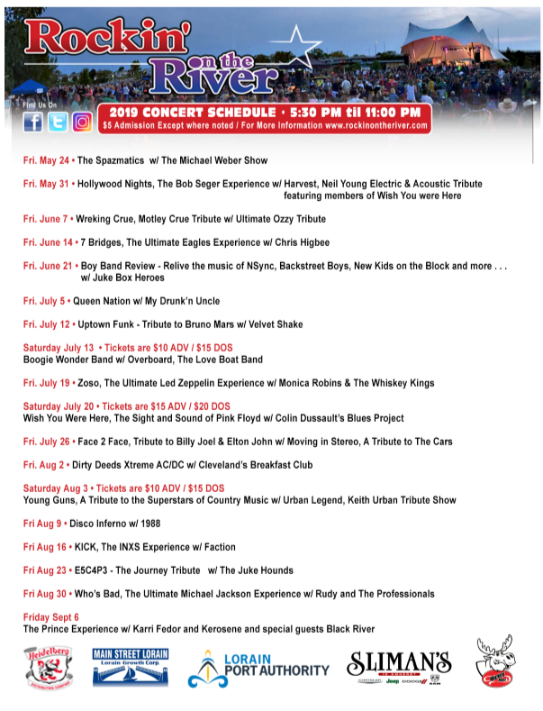 Rockin on the River Schedule