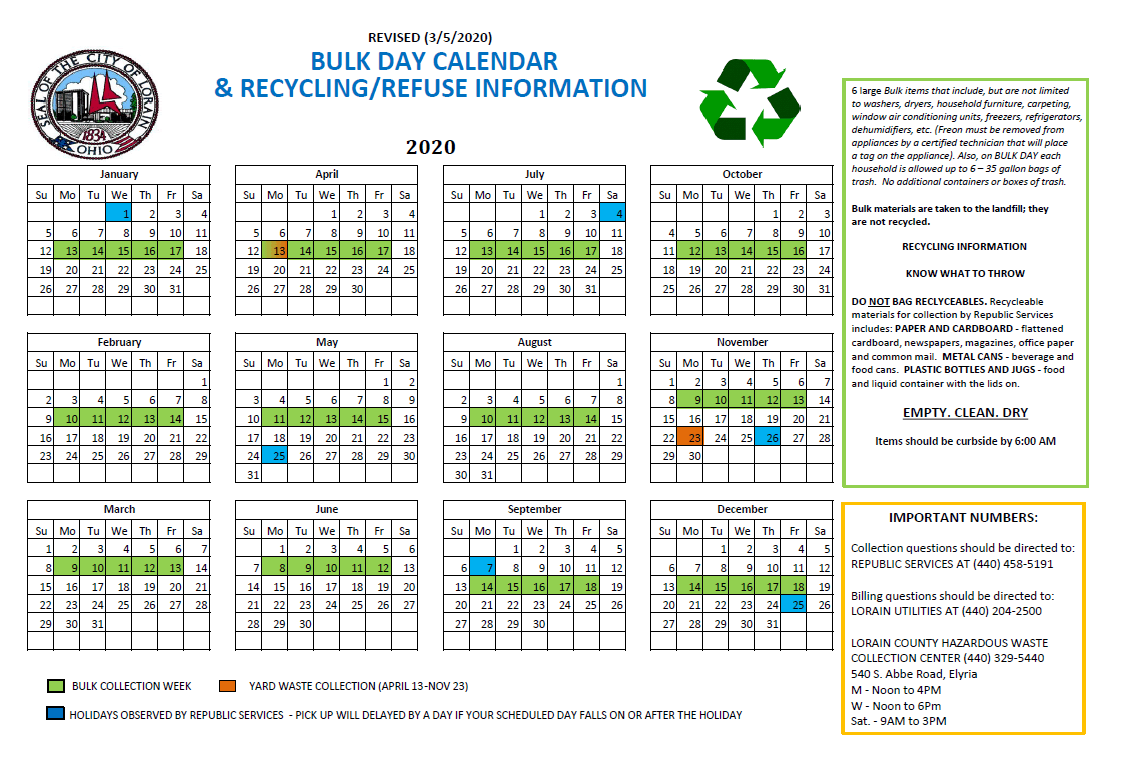 Republic Waste Calendar 2020